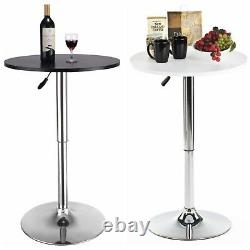 23.6 Round Bar Stool Pub Bar Table Adjustable Swivel Counter Height Black White