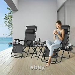 2PCS Zero Gravity Folding Adjustable Patio Beach Lounge Chairs & Table Black