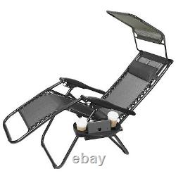 2 Zero Gravity Chairs Folding Recliner Patio Beach Garden Lounger Canopy & Trays
