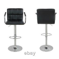 2pcs PU Leather Adjustable Height Swivel Bar Stool /Arms & Chrome Base Black US