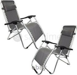 2x Zero Gravity Chair Reclining Sun Lounger Outdoor Garden Folding Adjustable