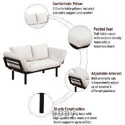 3 Position Sofa Bed Futon Couch Sleeper Lounge Sleep Dorm with Pillows Cream