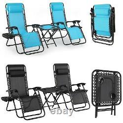 3pcs Folding Zero Gravity Reclining Lounge Chair Outdoor Beach Patio with Tray