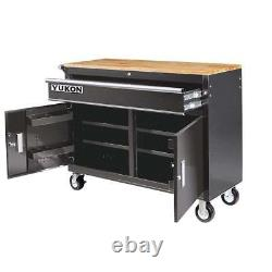 46 in. Mobile Storage Cabinet with Wood Top Welded Steel Construction Workbench