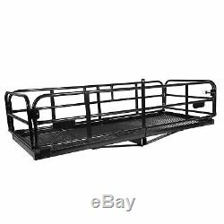 500 lbs Foldable Hitch Cargo Carrier Mounted Basket Luggage Rack with 2 Receiver
