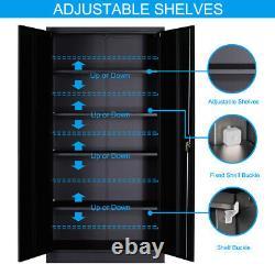 5 Shelf Steel Cabinet With Adjustable Shelves Lockable For Home Office Storage