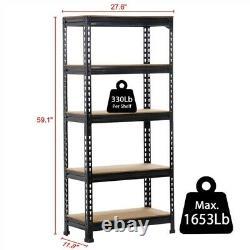 5-Tier Storage Rack Shelf Garage 3pcs Steel Metal Organizer Adjustable Garage