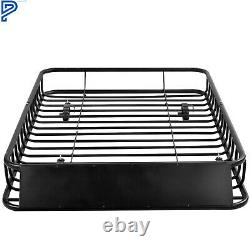 64 Universal Roof Rack Cargo Carrier withExtension Luggage Hold Basket SUV Black