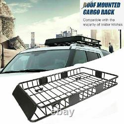 64 Universal Steel Roof Rack Cargo Carrier with Extension Luggage Hold Basket SUV