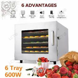 6 Tray Food Dehydrator Machine Stainless Steel Racks Meat /Fruit Jerky Dryer