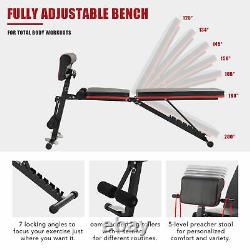 6-in-1 Adjustable Weight Bench Foldable Multipurpose Workout Bench for Home Gym