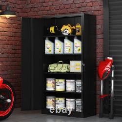 72 Lockable Garage Tools Office Storage Cabinet Metal with4 Adjustable Shelves