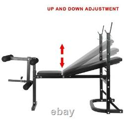ADJUSTABLE WEIGHT BENCH PRESS BARBELL RACK EXERCISE StRENGTH TRAINING WORKOUT US