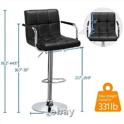 Adjustable Counter Height Bar Stools Set of 2 Swivel Kitchen Stool Dining Chairs