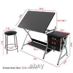 Adjustable Drafting Table Drawing Desk Art Desk with Storage Drawers&Stool, Black