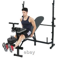 Adjustable Olympic Workout Weight Lifting Bench with Rack Incline Decline Flat Gym