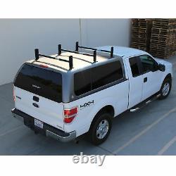 Adjustable Pickup Truck Cap Topper 3 Bar Ladder Roof Van Rack Steel Sandy Black