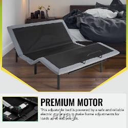 Adjustable Queen Bed Frame with Dual USB Charging Ports Remote Control Massage