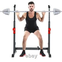 Adjustable Squat Rack Bench Press Power Weight Rack Barbell Stand Gym Home Black