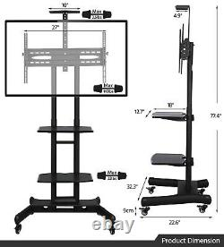 Adjustable TV Stand Mobile TV Cart LCD/LED Flat Screens with Wheels Fits 32to 65