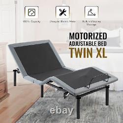 Adjustable Twin XL Bed Frame with Remote Control USB Charging Ports and Massage