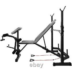 Adjustable Weight Bench Press Barbell Rack 660lb Weightlifting Strength Training