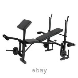 Adjustable Weight Workout Bench Full Body Exercise Olympic with Squat Rack Stand