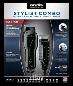 Andis 66280 Stylist Combo Adjustable Blade Clipper Corded Black T-Outliner NEW
