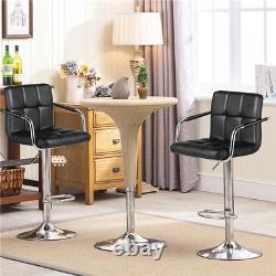 Bar Stools Adjustable Counter Stool Bar Chairs Swivel Barstool Set of 2 Black