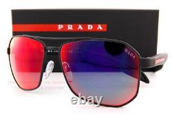 Brand New Prada Sport Sunglasses PS 51VS DG0 9Q1 Black Rubber/Mirror Blue Red