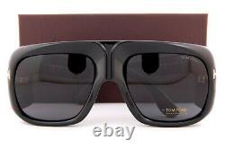 Brand New Tom Ford Sunglasses Gino FT 0733 01A Shiny Black/Gray For Men