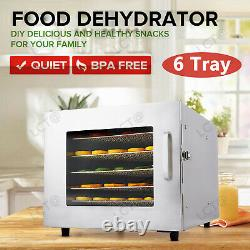 Commercial 6 Tray Stainless Steel Food Dehydrator Fruit Meat Jerky Dryer USA
