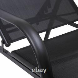 Costway Outdoor Patio Chaise Lounge Chair Sling Lounge Recliner Adjustable Back