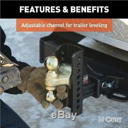 Curt 45902 Adjustable Channel Mount with 2 & 2-5/16 Dual Trailer Ball 20,000 GTW