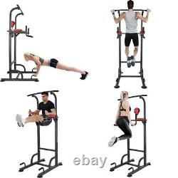 Dip Station Chin Up Bar Power Tower Pulls Push Boxing Ball Home Gym Fitness Co