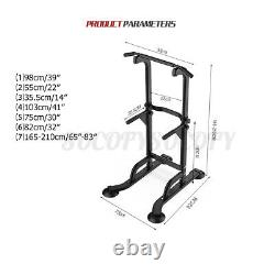 Dip Station Power Tower Adjustable Pull Up Bar Strength Training Indoor Exercise