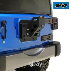 EAG Fit 2007-2018 Jeep Wrangler JK Adjustable Tire Carrier Mount Black Steel