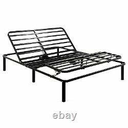Electric Queen Size Bed Frame Adjustable Metal Bed Base with Reclining Head Foot