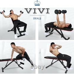 Foldable Weight Bench Adjustable Flat/incline/decline Sit Up Home Gym