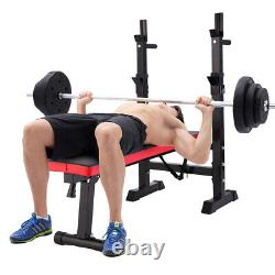 Folding Weight Bench With Rack Adjustable Lifting Strength Gym Workout Home Gym