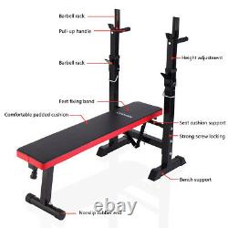 Folding Weight Bench With Rack Adjustable Lifting Strength Training Gym Workout