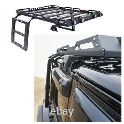 For 07-17 Jeep Wrangler JK 4 Doors Roof Rack +2 Side Ladders Carbon Steel Black