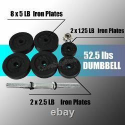 Full Metal 105 lbs Dumbbells 2 x 52.5 lbs Adjustable Black Plated Dumbbells