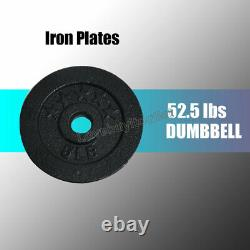 Full Metal 50lb 52.5lb Adjustable Dumbbell Weight Fitness lifting Workout Pro