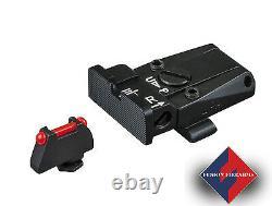 Fully Adjustable Sight Set Black Rear, Red Fiber Optic Front for Glock 17 -43