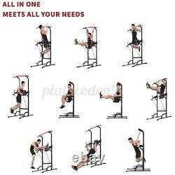 Geemax Adjustable Push Dip Station Chin Pull Up Bar Power Tower Home Gym Workout