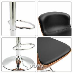 HOMCOM Set Of 2 PU Leather Rounded Tub Bar Stools Adjustable Height with Footrest