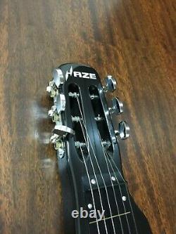 Haze LT-1920 Metallic Black LAP Steel Electric Guitar with3 Height Adjustable Feet