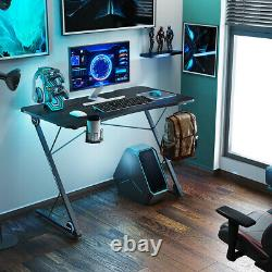 Home Office Racing Gaming Desk WithHeadphone Cup Game Handles Holder With Blue Light