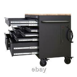Husky Mobile Workbench 52 in. W 9-Drawer Black Adjustable-Height Hardwood Top